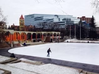 Skating rink in Olympic Plaza