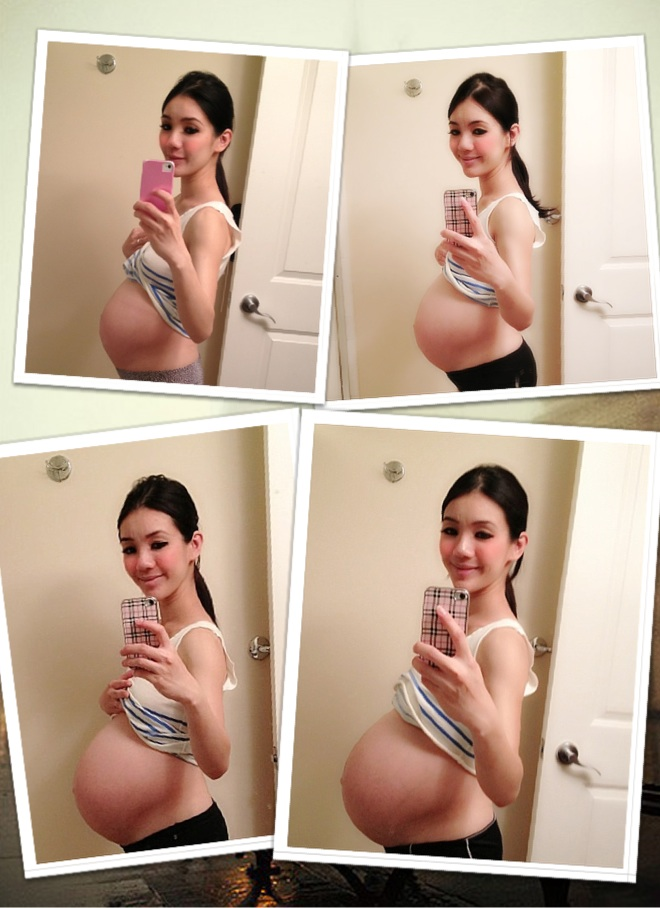 The above photos show my baby bump at 28 weeks, 33 weeks, 37 weeks and ...