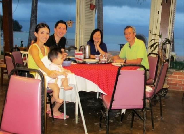 Family photo at Hollywood Restaurant on J's Birthday