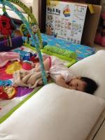 Baby E's DIY playpen in living room