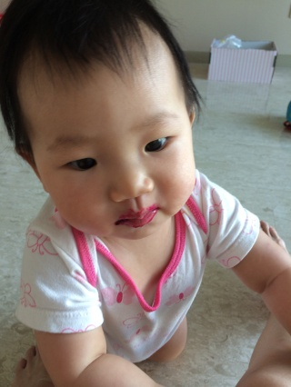 Baby E loves her fruits! This was her after eating red dragonfruit.