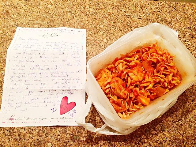 Tomato fusilli and a love note for me!