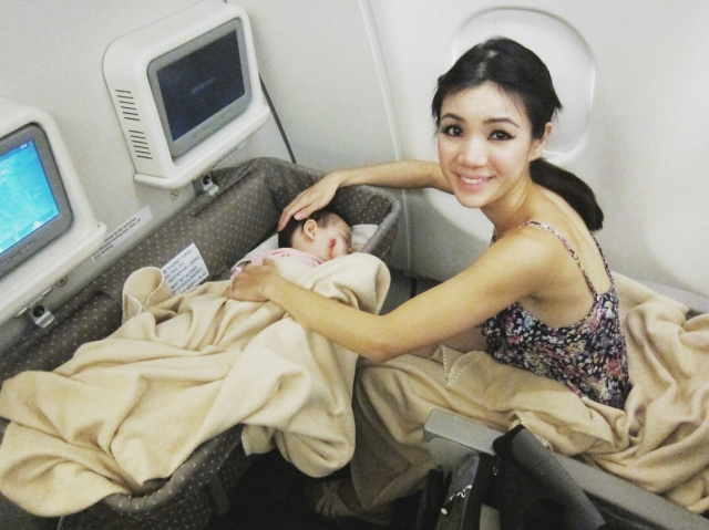 Baby E slept well throughout the flight.