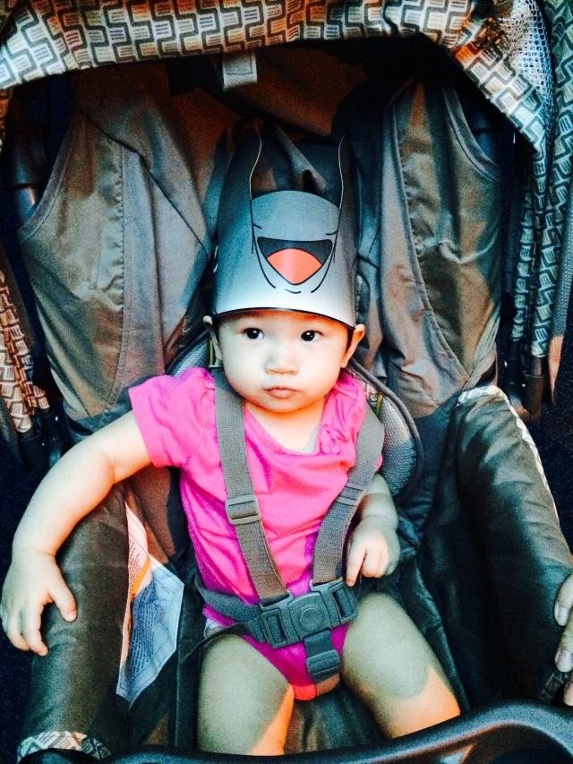 Manta Ray headgear on Baby E