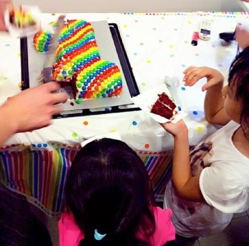 Kids surrounding the cake table