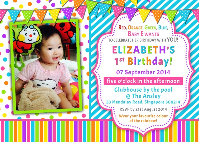 Baby E's birthday invitation