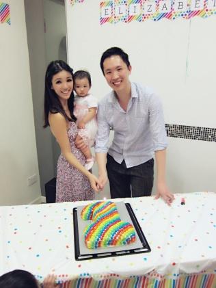 Family photo with birthday cake