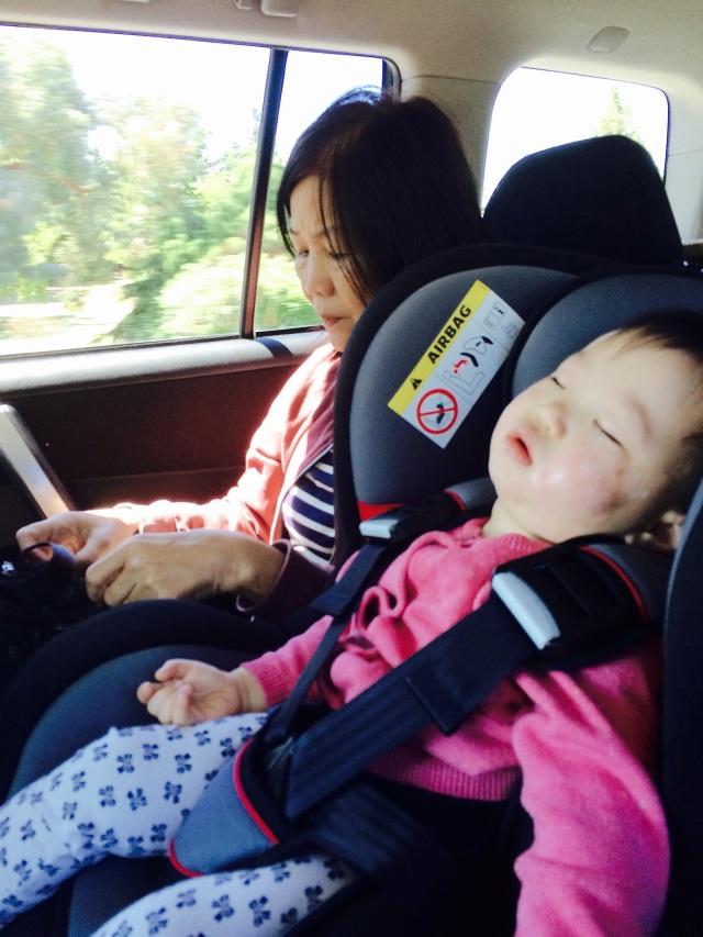 E slept in car seat