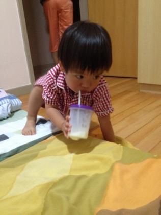Matthew drinking his bedtime milk