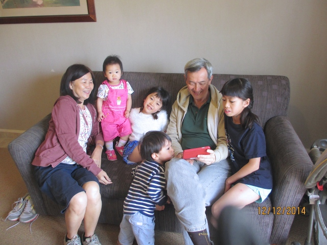 Mum and Dad with the 4 grandchildren