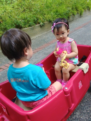 Babies in wagon