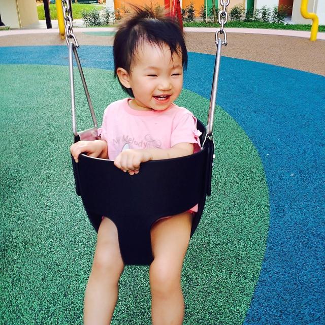 Little E swinging