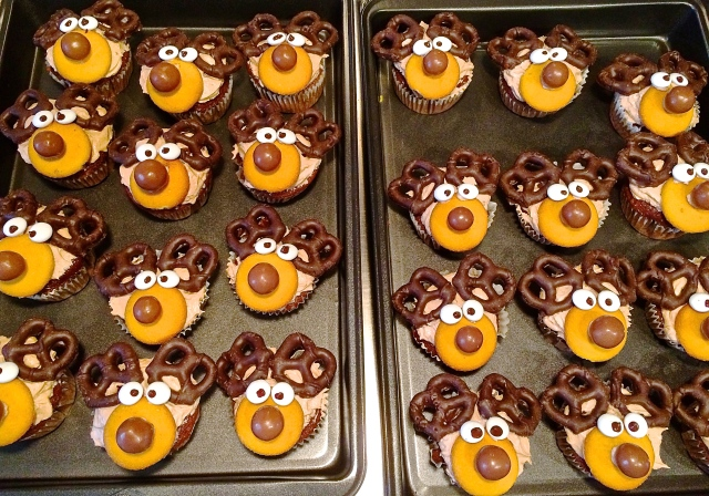 """Reindeer Cupcakes"" that I baked and made to resemble reindeers for the season. Made them for family and friends at dinner parties, security guards, and neighbours."