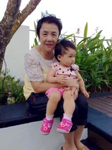 Mom and E at Changi Hotel