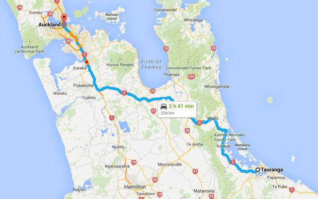 Tauranga to Auckland map
