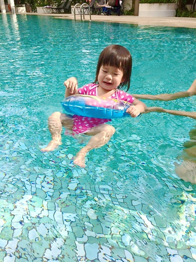 Calista swimming