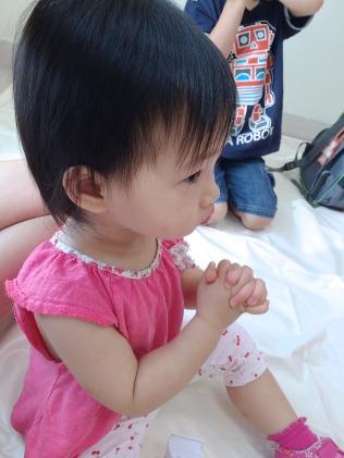 Little E praying