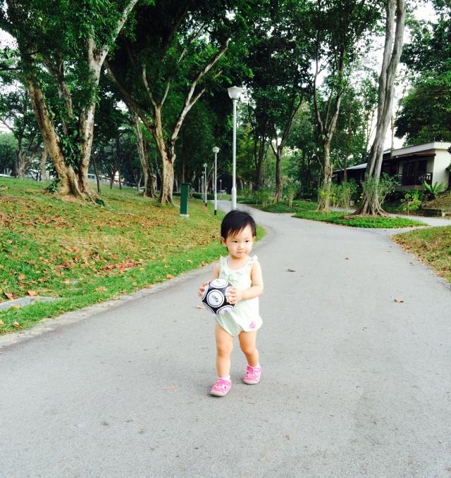 Little E with soccer ball
