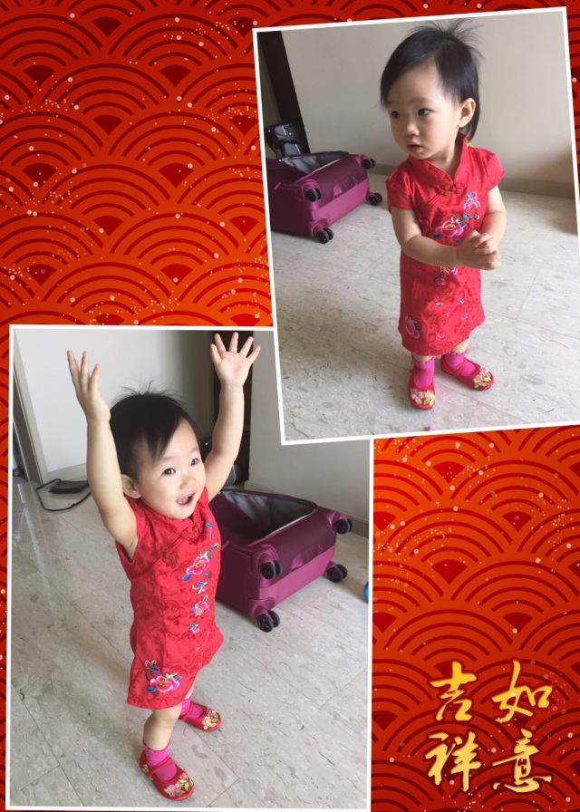 Little E in her cheongsam