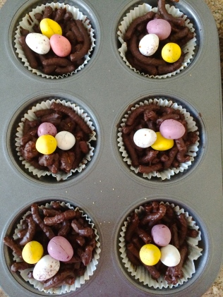 Easter nests, fresh from the muffin pan.