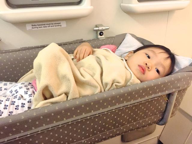 Little E in the bassinet
