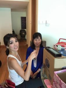 Me being the makeup artist for the mothers of groom and bride.