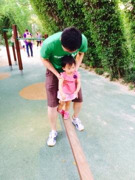 Balance beam with papa!