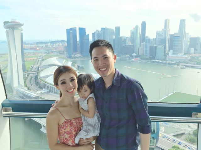 Family photo at highest point on Singapore Flyer