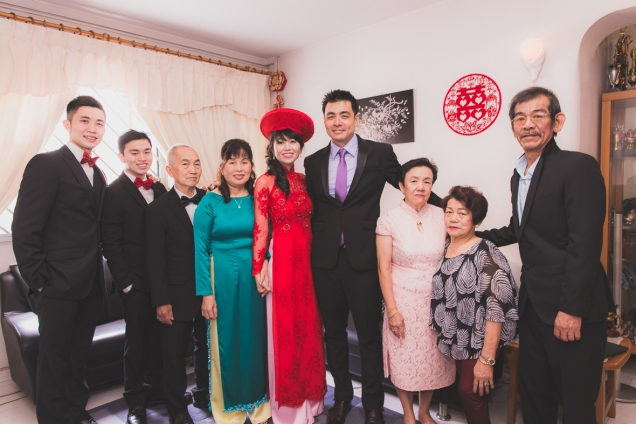 Family picture taken at the groom's home.