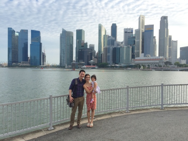 Family photo with Singapore skyline