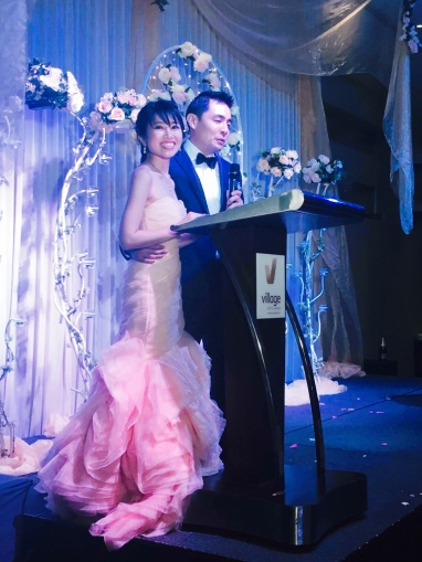 The newly weds gave their speech.