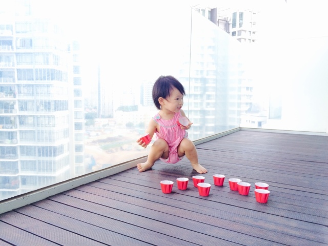 Baking cups in the balcony