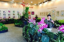 Mom at SBG orchid display