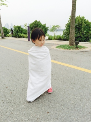 Little E towel-wrapped