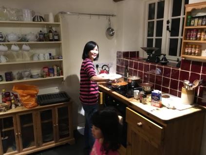 Mum cooking dinner