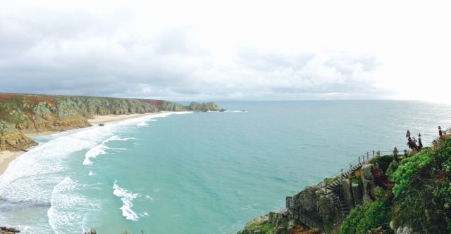 The Porthcurno Bay overlooking the Atlantic Ocean.