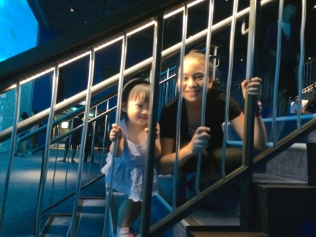 Lianna and Little E in the SEA Aquarium