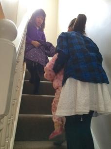 Girls going upstairs