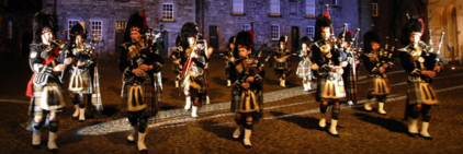 A grand welcome performance by the bagpipers band at the Top Square