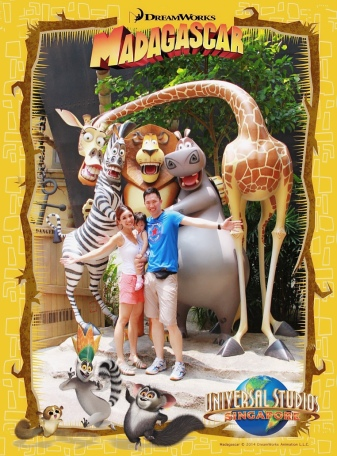 Family photo with Madagascar characters