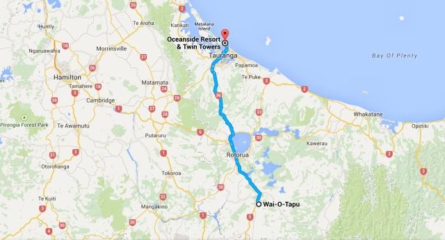 Wai-O-Tapu to Tauranga map