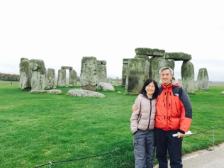 Dad and Mum with Stonehenge