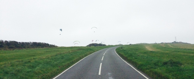 Paragliders towards the Beach Head