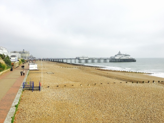 Stroll towards Eastbourne Pier in daylight