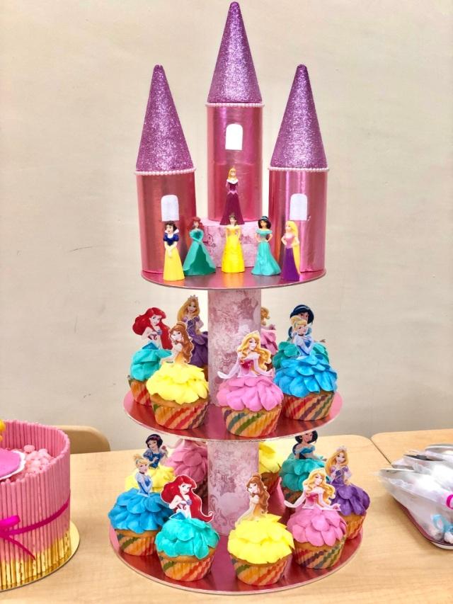 Princess cupcake tower close-up shot