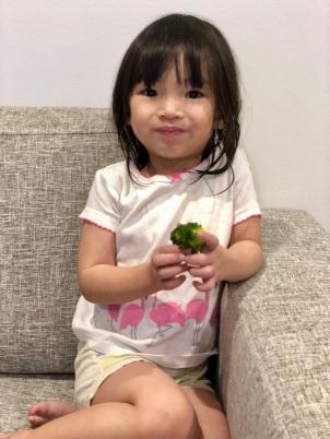 Little H enjoying broccoli