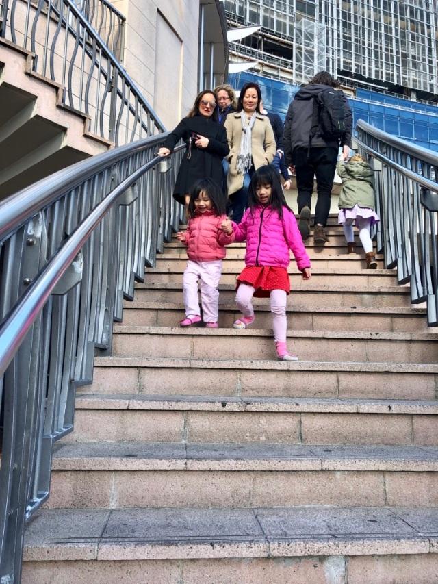 EH walking down steps