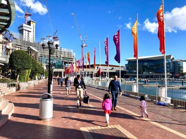 Running along Darling Harbour